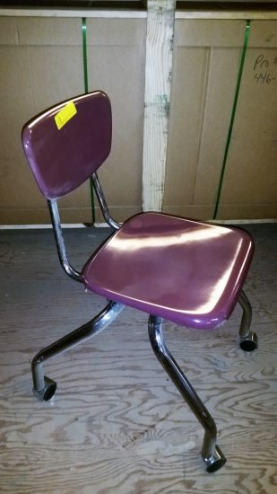 BURGUNDY AND CHROME ROLLING CHAIR