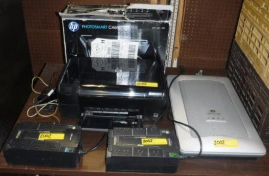 PRINTER, SCANNER, AND 2 UPS'