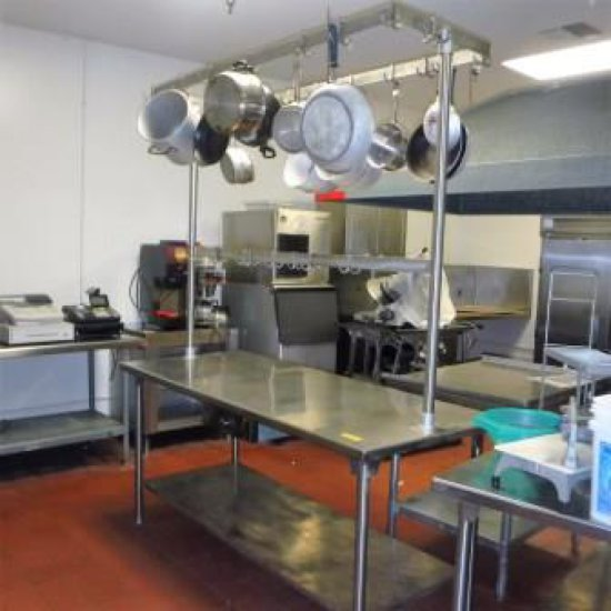 STAINLESS STEEL PREP TABLE WITH OVERHEAD POT RACK