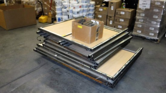 2 PALLETS OF WOOD AND METAL CUBICLE DIVIDERS