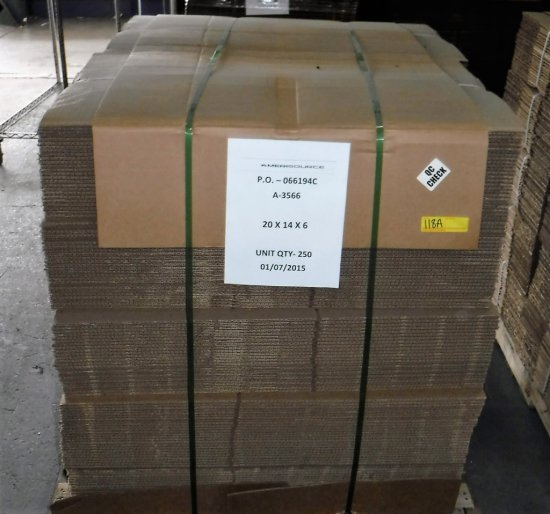 """PALLET OF 250 NEW BOXES - 20"""" X 14"""" X 6"""""""