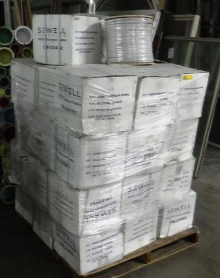 PALLET OF 39 NEW WOOD SPOOLS OF RG-59 SIAMESE CABLE