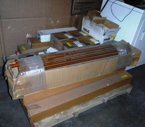 PALLET OF LIGHT FIXTURES AND HARDWARE