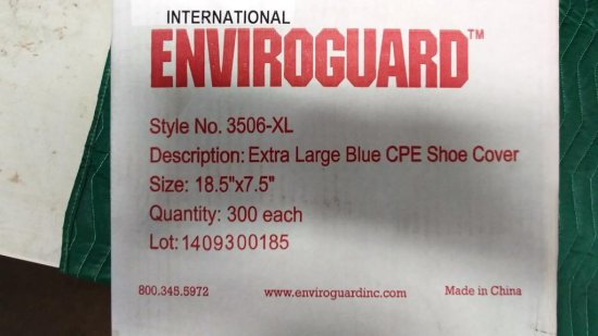 NEW BOX OF 300 BLUE CPE SHOE COVERS