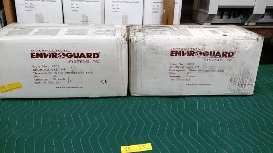 2 BOXES OF NEW ENVIROGUARD WHITE MICROPOROUS SHIRTS 4XL