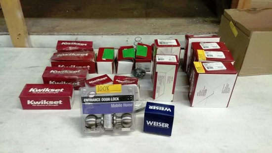 LOT OF APPROX. 18 BOXES OF DOOR HARDWARE BY KWIKSET, DANCO AND WEISER
