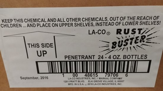 1 BOX OF 24 4OZ. BOTTLES OF LA-CO RUST BUSTER