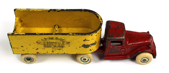 VINTAGE ARCADE TRANSPORT SERVICE TRUCK TRAILER CAST IRON