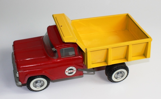 VINTAGE NY-LINT NO. 5100 YELLOW AND RED DUMP TRUCK