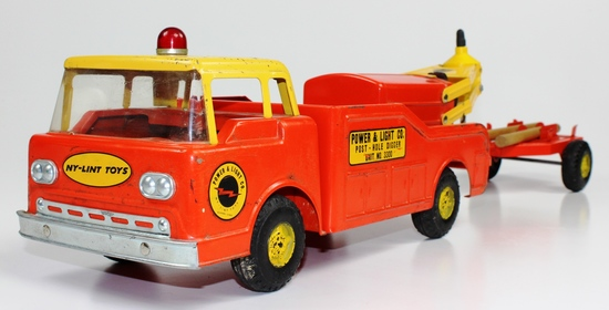 VINTAGE NY-LINT POWER & LIGHT TRUCK WITH TRAILER & DRILL