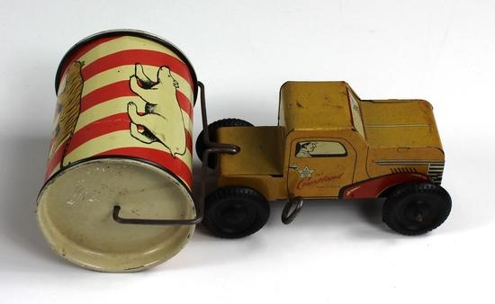 VINTAGE COURTLAND 1940s-1950s WIND-UP TRUCK & ROAD ROLLER