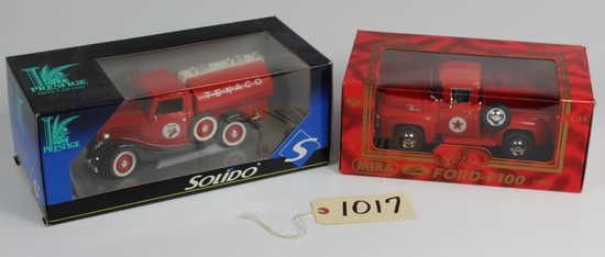 2 NEW, IN THE BOXES: MIRA TEXACO TRUCK & SOLIDO TEXACO TANKER