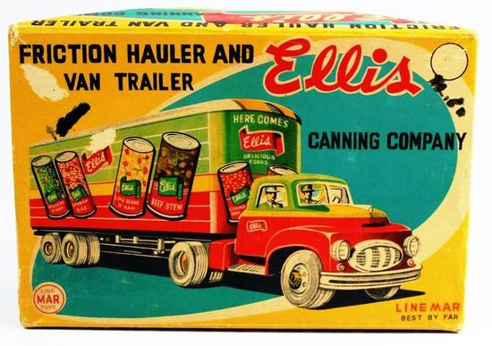 VINTAGE TIN ELLIS CANNING COMPANY FRICTION HAULER AND VAN TRAILER IN BOX