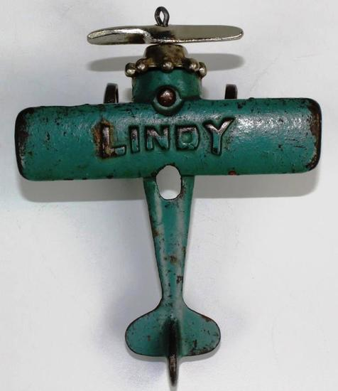 "VINTAGE HUBLEY ""LINDY"" SINGLE ENGINE CAST IRON PLANE"