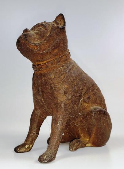 VINTAGE CAST IRON HUBLEY BOXER DOG STILL BANK