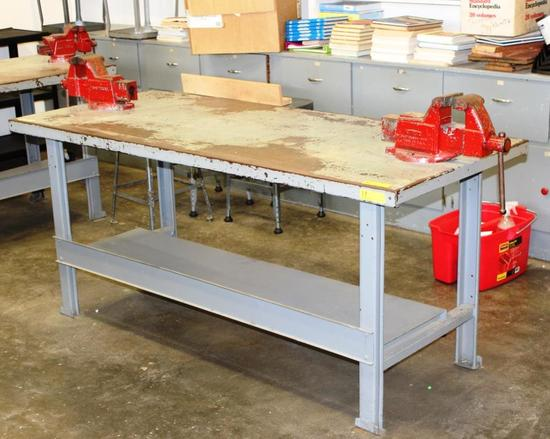 "WORK TABLE WITH 2 MOUNTED VISES - APPROX. 30"" X 62"""