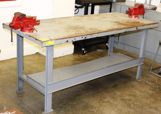 "WORK TABLES WITH 2 MOUNTED VISES - APPROX. 30"" X 62"""