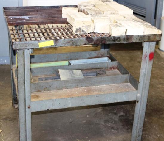 "CUTTING TORCH TABLE WITH REFRACTORY BRICKS - Approx. 36-1/2"" x 36-1/2"" x 34-1/2"""
