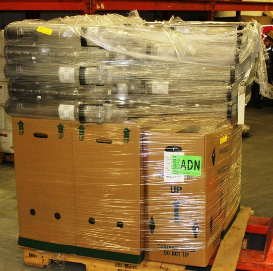 PALLET OF OVER 50 CLEAR PLASTIC BULK BINS