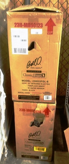 """LOT OF 2 NEW BELL'O 23"""" INFRARED ELECTRIC FIREPLACE INSERTS"""