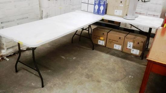 2 WHITE PLASTIC FOLDING TABLES