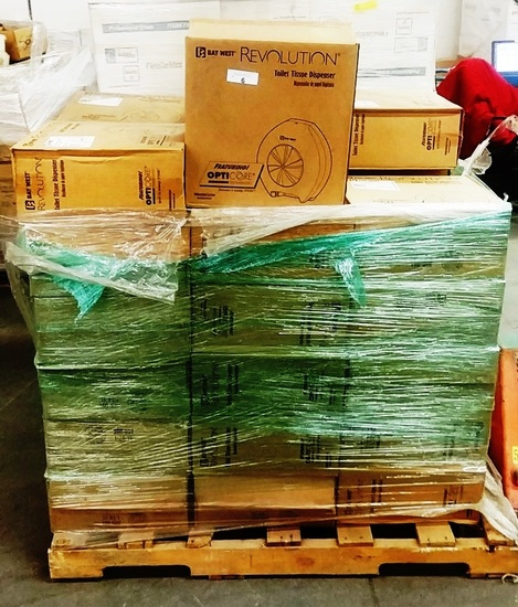 PALLET OF 41 NEW BAY WEST REVOLUTION TOILET TISSUE DISPENSERS