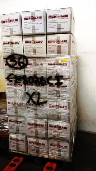 PALLET OF 40 BOXES OF INTERNATIONAL ENVIROGUARD MICROGUARD LAB COATS XL