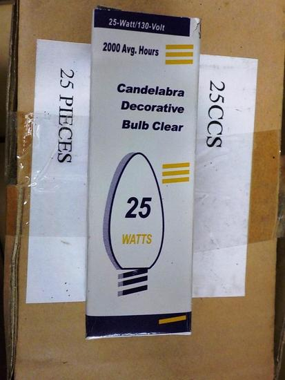 LOT OF 750 NEW CANDELABRA DECORATIVE CLEAR BULBS