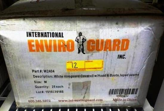 6 BOXES ENVIROGUARD W2404 WHITE VIROGUARD COVERALL WITH HOOD & BOOTS, TAPED SEAMS - M - 25 EACH PER