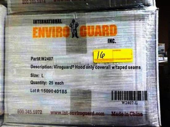42 BOXES OF ENVIROGUARD W2407 WHITE VIROGUARD HOOD ONLY COVERALL - L