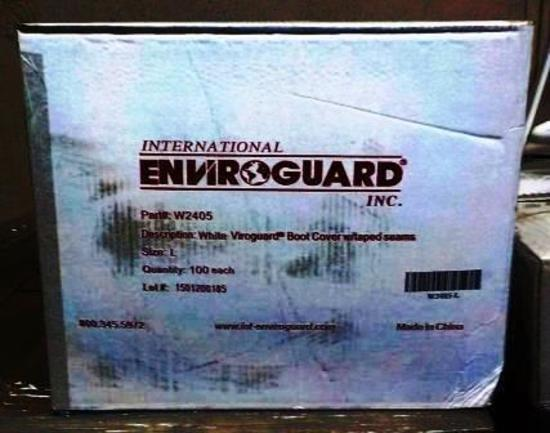 36 BOXES  ENVIROGUARD W2405 WHITE VIROGUARD BOOT COVERS WITH TAPED SEAMS