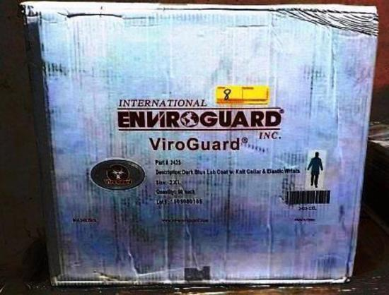 28 BOXES ENVIROGUARD 2425 VIROGUARD DARK BLUE LAB COAT W/KNIT COLLAR & ELASTIC WRISTS