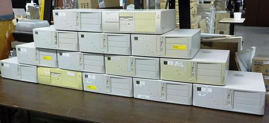 LOT OF 14 DESKTOP COMPUTERS / PCS