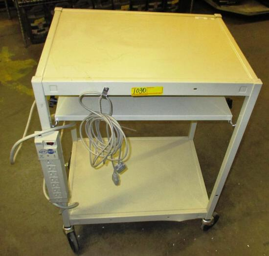 ROLLING BEIGE METAL AV / EQUIPMENT CART