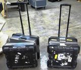 2 BLACK ROLLING EQUIPMENT CASES WITH RETRACTABLE HANDLES