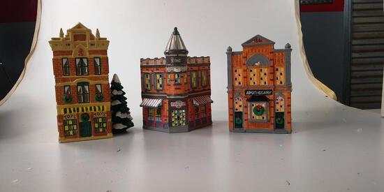 LOT OF 3 DEPT. 56 SNOW VILLAGE: TOY SHOP, APOTHECARY & CORNER STORE