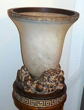 GLASS URN WITH FOO DOG STAND P932