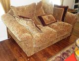 TAN OVER STUFFED LOVESEAT WITH 6 PILLOWS