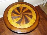ROUND WOOD PEDESTAL TABLE WITH SWIRL PATTERNED TOP