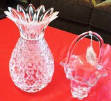 CRYSTAL OR CUT GLASS BASKET AND PINEAPPLE VASE
