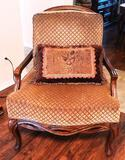 PAIR OF WOVEN-BACK SIDE CHAIRS WITH CUSHIONS
