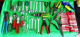 LARGE LOT OF PLIERS, WRENCHES AND CUTTERS