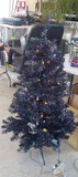 4FT PRE-LIT BLACK TINSEL / DARK PURPLE CHRISTMAS TREE