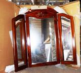 NEW WOOD FRAMED FOLDING 3-SECTION MIRROR