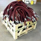 LARGE WOOD CRATE OF CROWD CONTROL VELVET ROPES
