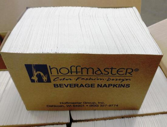 NEW BOX OF 500 HOFFMASTER BEVERAGE NAPKINS - WHITE