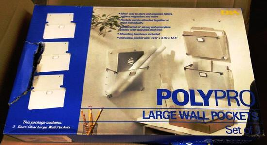 LOT OF 6 NEW POLYPRO LARGE WALL POCKETS - SET OF 3