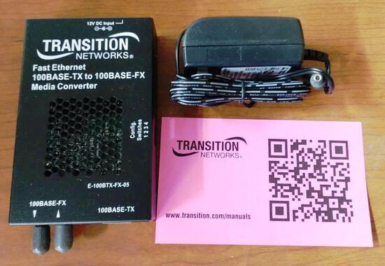 5 NEW TRANSITION NETWORKS E-100BTX-FX-05 CONVERTERS