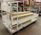 LARGE WOOD AND METAL ROLLING WAREHOUSE CART / WAGON