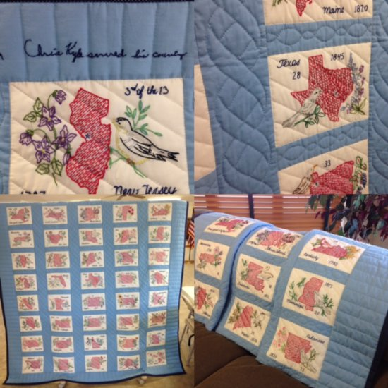 """Handmade 50 States Quilt by Joyce """"Granny"""" Kyle"""